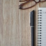 Notebook glasses and pen