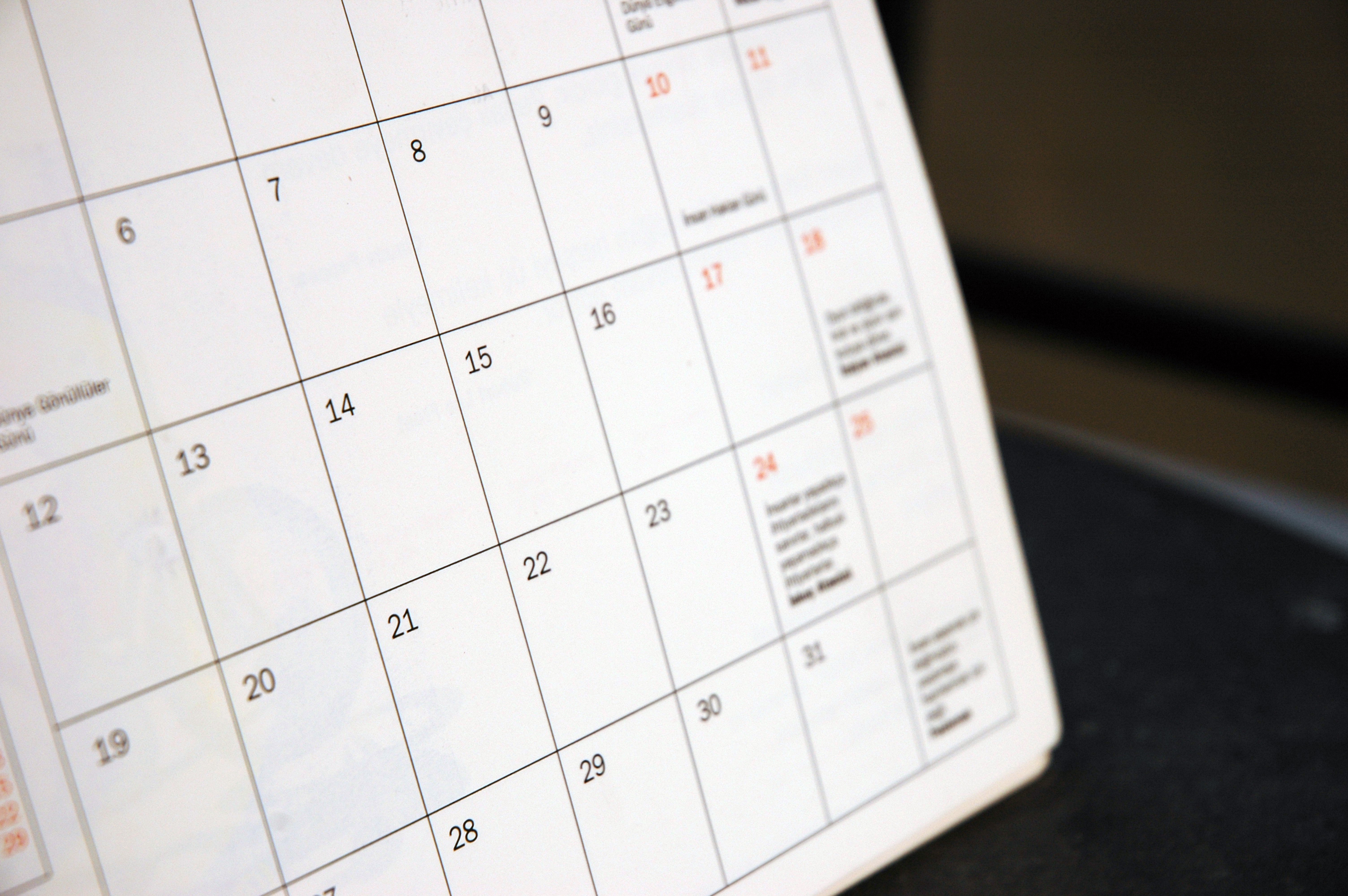 Picture of a calendar- VEDS Movement events postponed